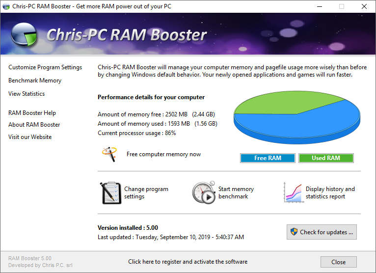 Chris-PC RAM Booster will manage your computer memory and page file usage more wisely than before by changing Windows default behavior. Therefore applications and games will run smoother, benefiting of the full power of your computer